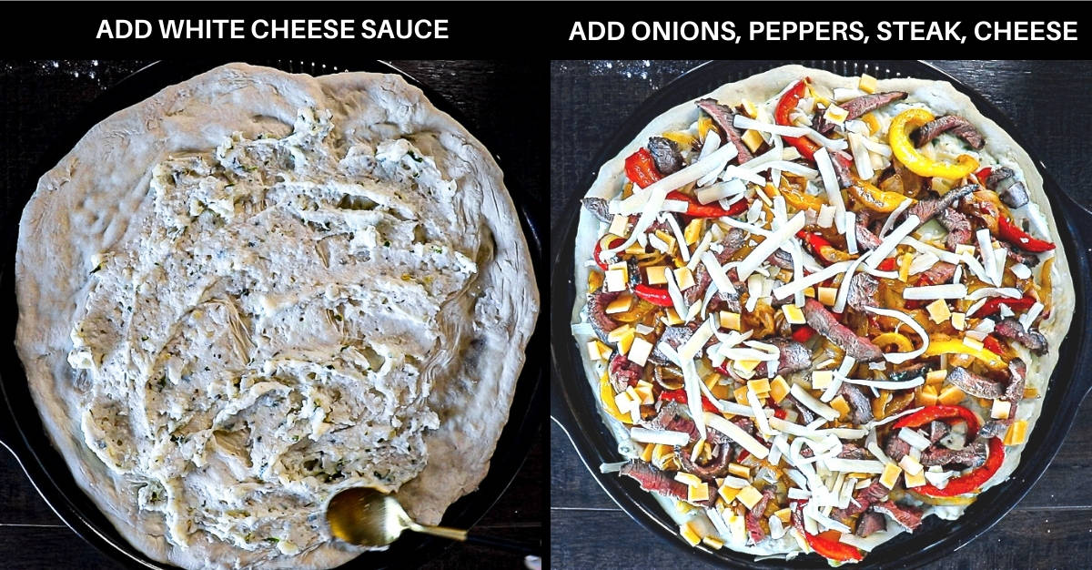 Side by side photo collage with white sauce on pizza next to pizza toppings including cheese, peppers, onions, and steak.