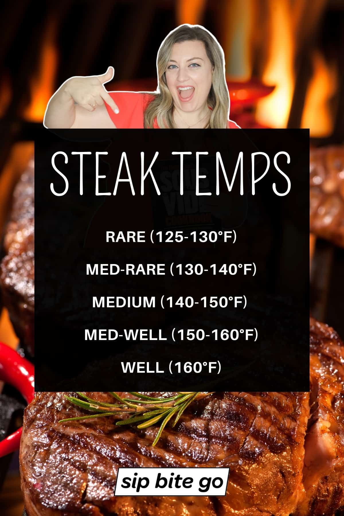 Steak temperature cooking chart with Sip Bite Go logo.
