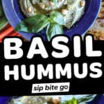 Photo collage with basil hummus text overlay.