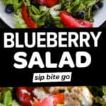 Blueberry salad photos with text overlay.