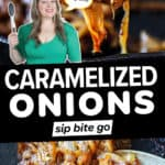 Caramelized onion photo collage with text overlay.