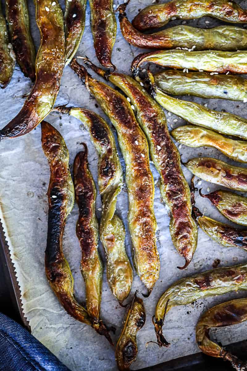 Charred oven baked Fava Beans on a sheet tray