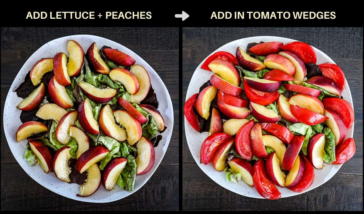 Chart demonstrating adding lettuce peaches and tomatoes to salad