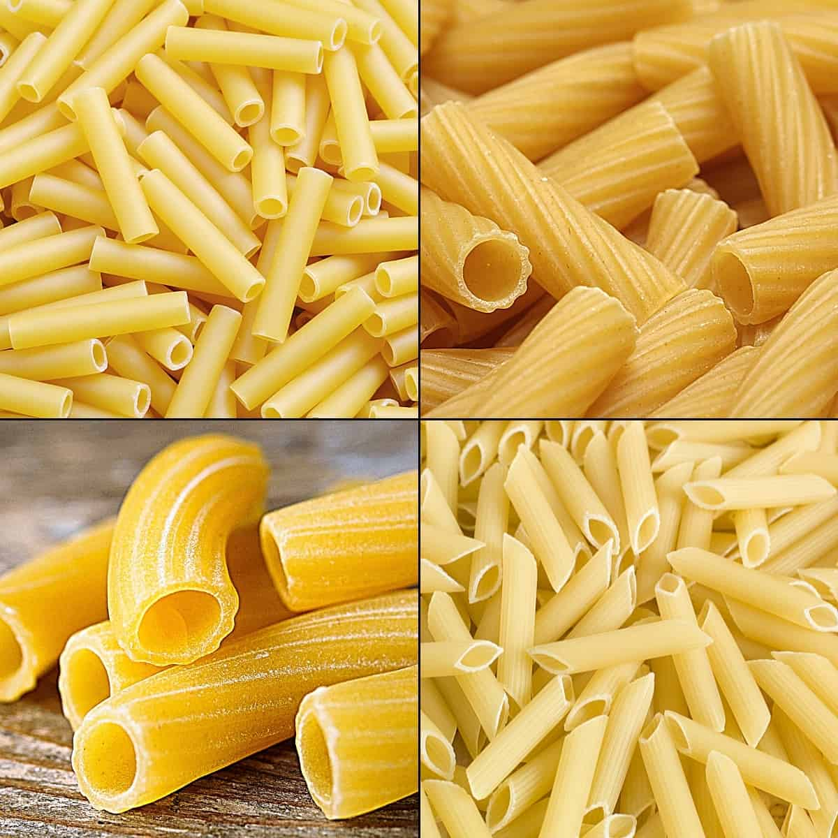 Demonstrating the difference between ziti noodles vs penne vs rigatoni pasta shapes