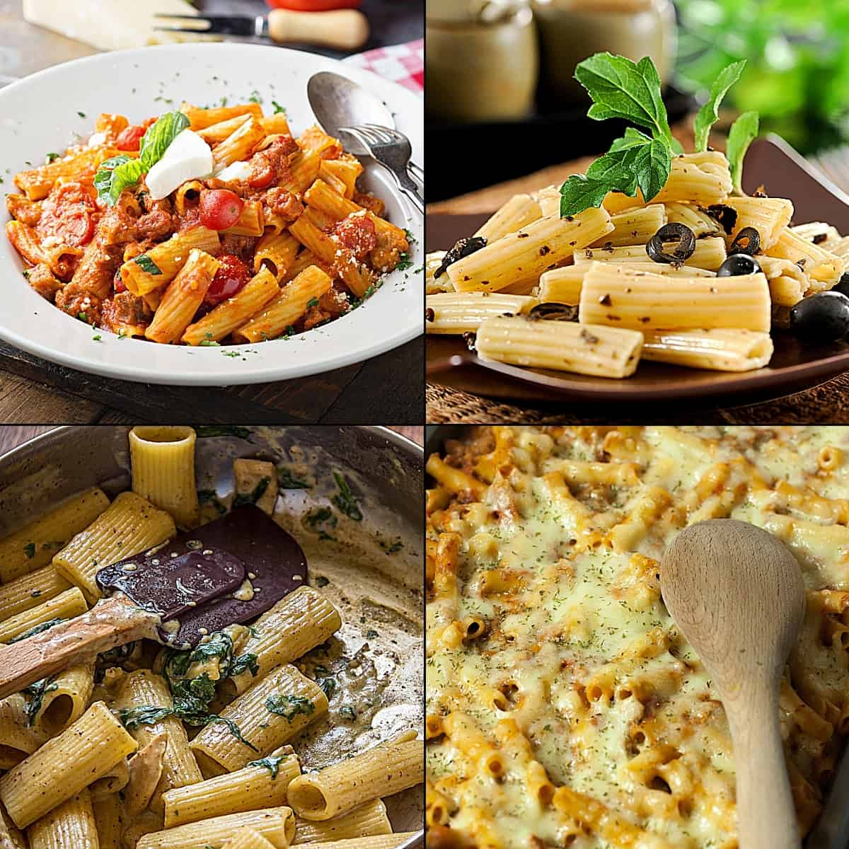 Examples of which pasta shape to use for baked pasta dishes