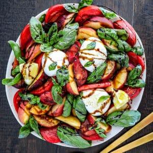 Fresh Peach Caprese Salad with Burrata And Tomatoes