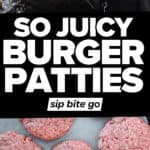 Ground beef patties and hamburger meat images with text overlay.