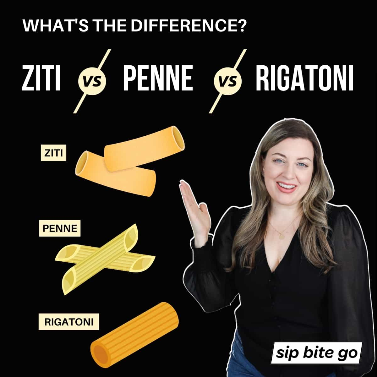 Infographic chart demonstrating what's the difference between ziti penne and rigatoni Sip Bite Go pasta shapes