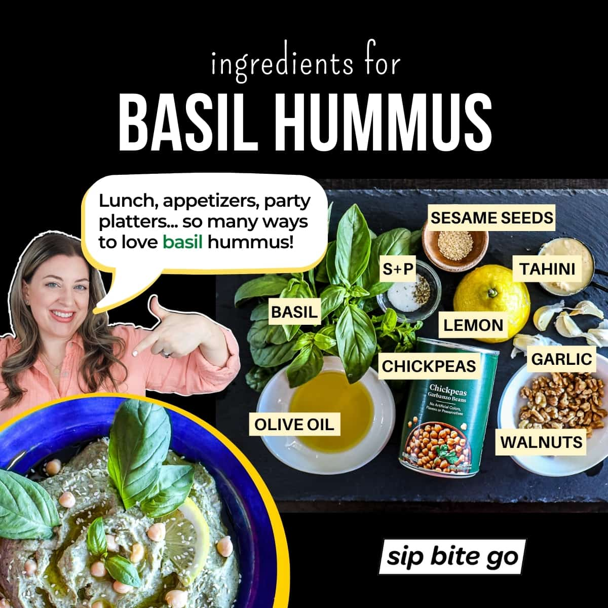 Infographic chart with photos and captions for basil hummus ingredients