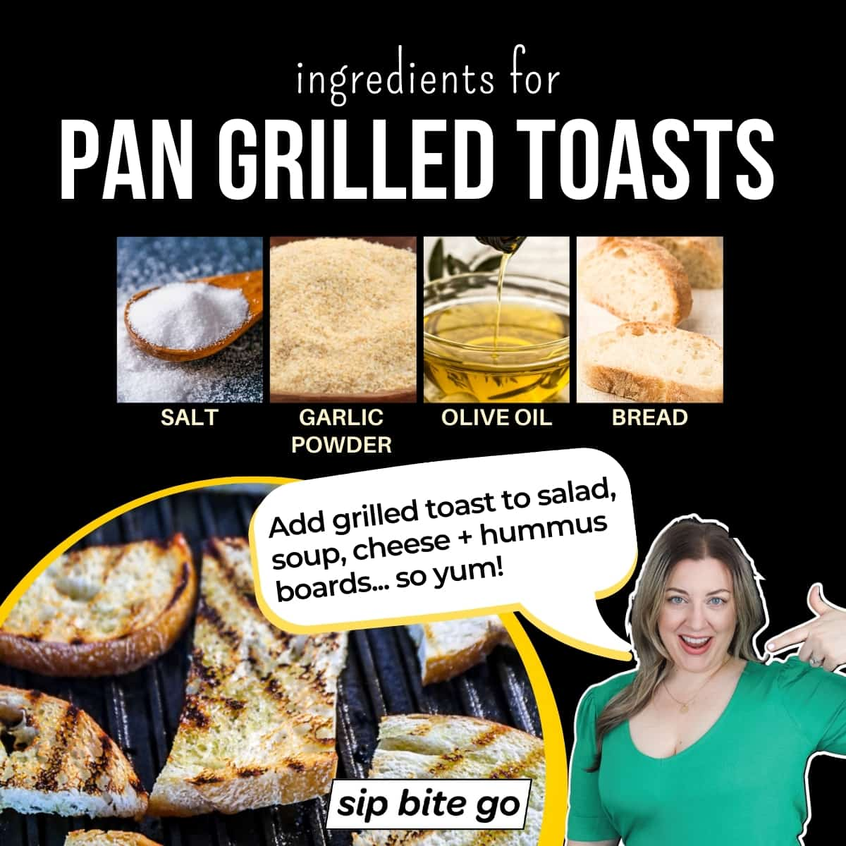 Infographic chart with photos and captions pan grilled toasts ingredients.