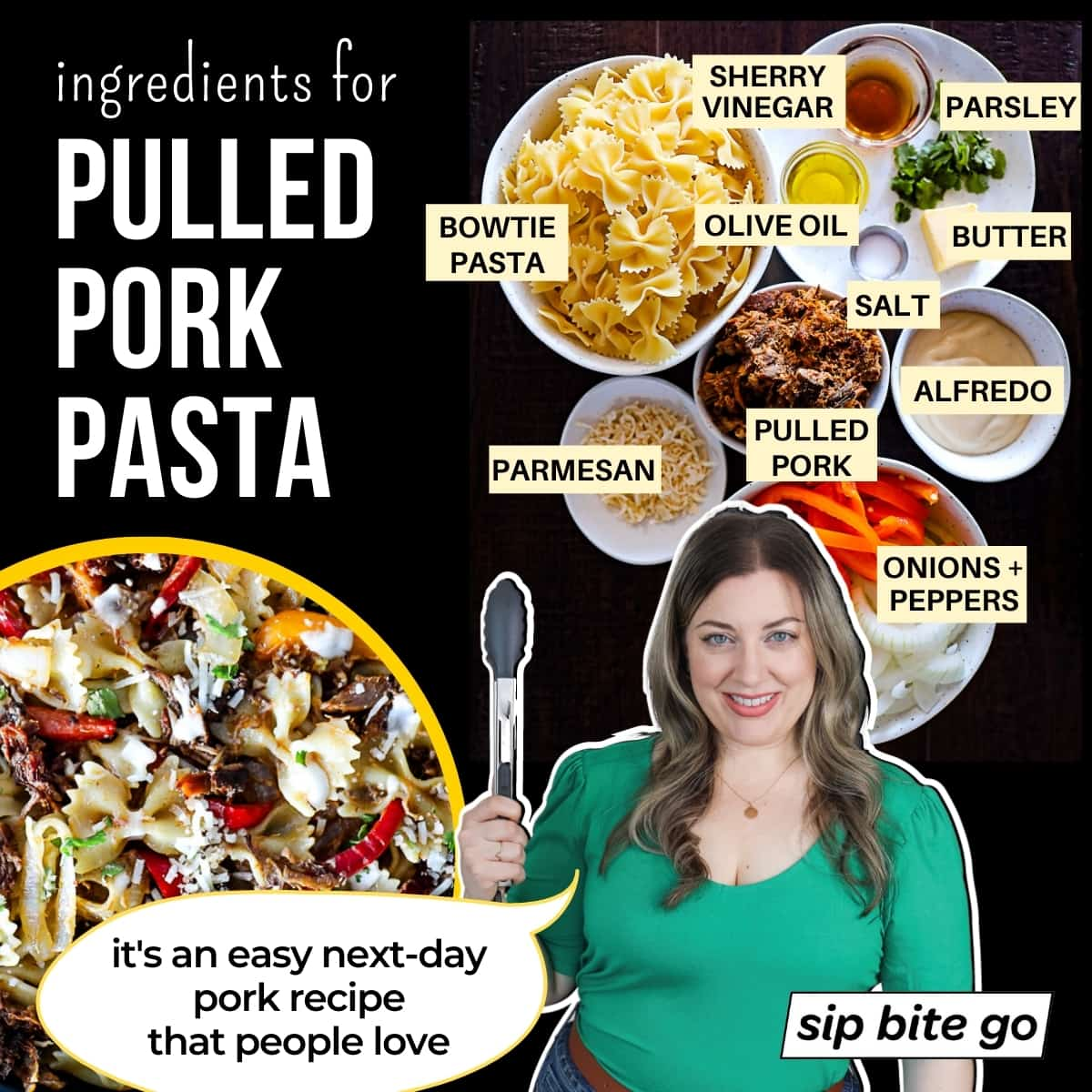 Infographic chart with quote and ingredients for Leftover Pulled Pork Pasta with onion, pepper, Sherry vinegar, pulled pork, Alfredo sauce, Parmesan