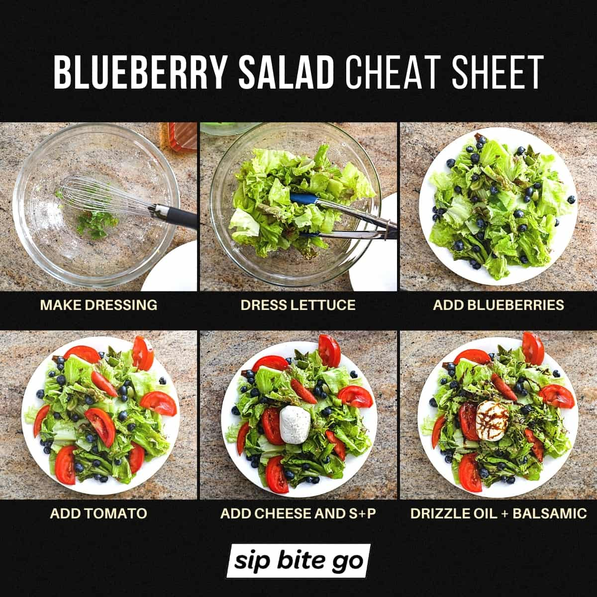 Infographic how to make blueberry salad with creamy burrata cheese and balsamic and tomatoes Sip Bite Go