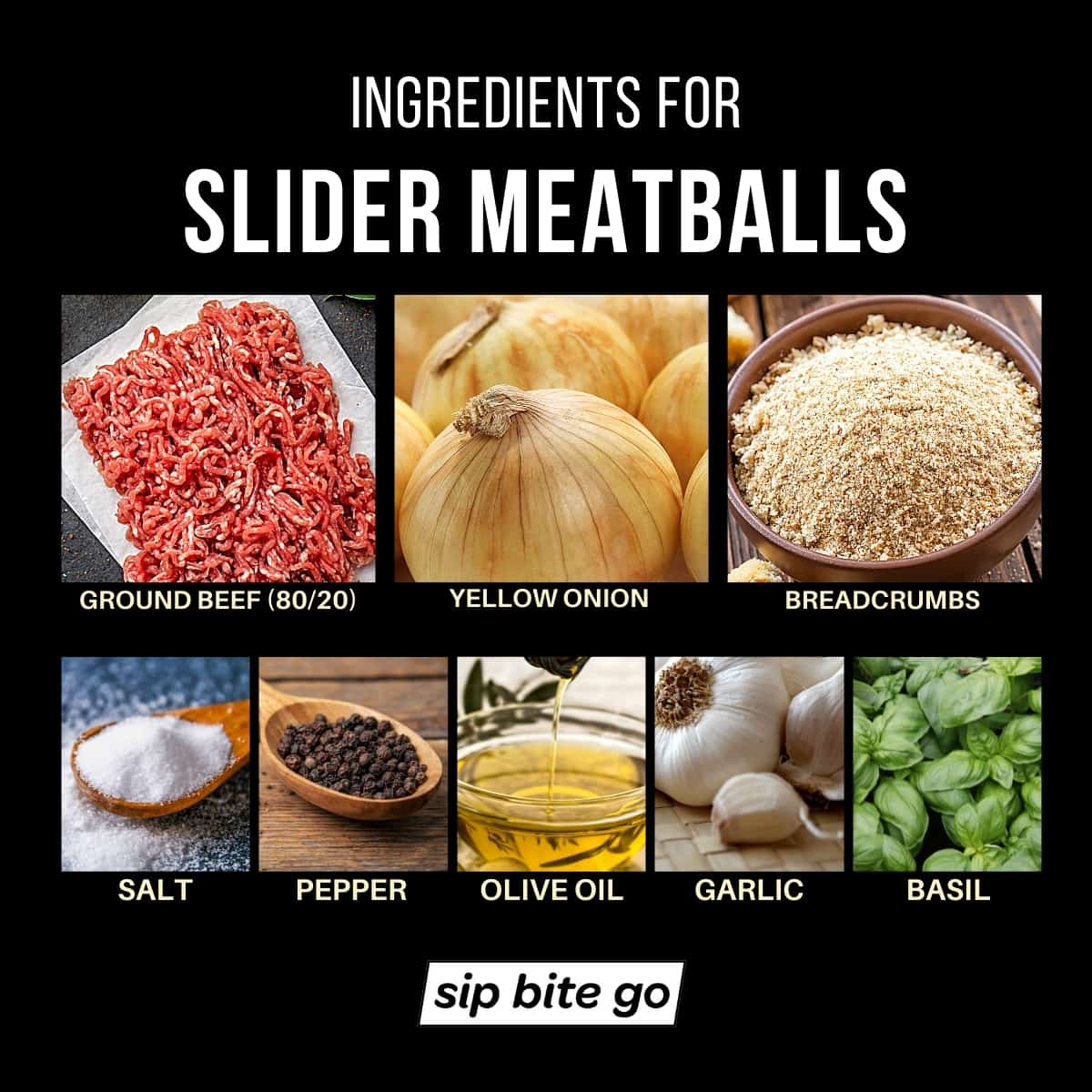 Infographic with list of ingredients for slider meatballs.