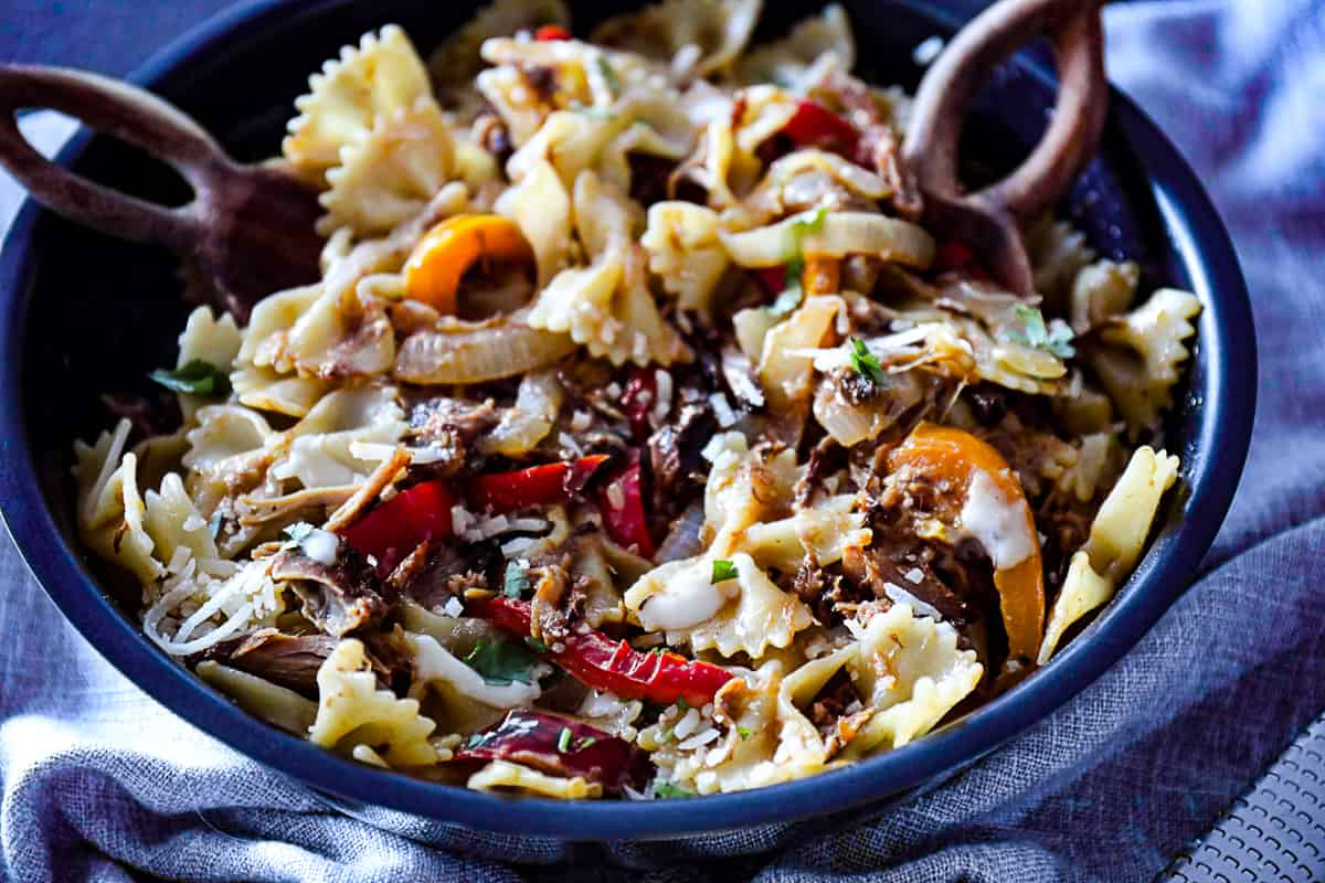 Large pan with Leftover Pulled Pork Pasta.
