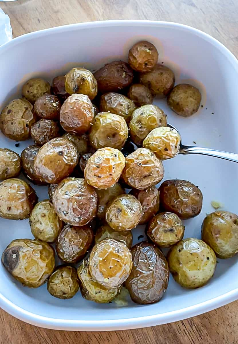 Roasted Air Fryer Baby Potatoes in a serving dish
