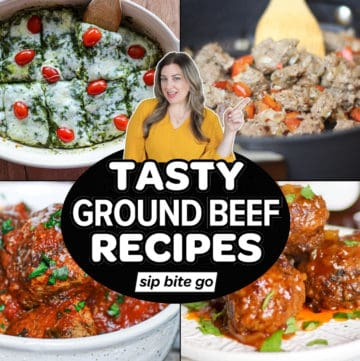 Simple Ground Beef Recipes Collage with text overlay