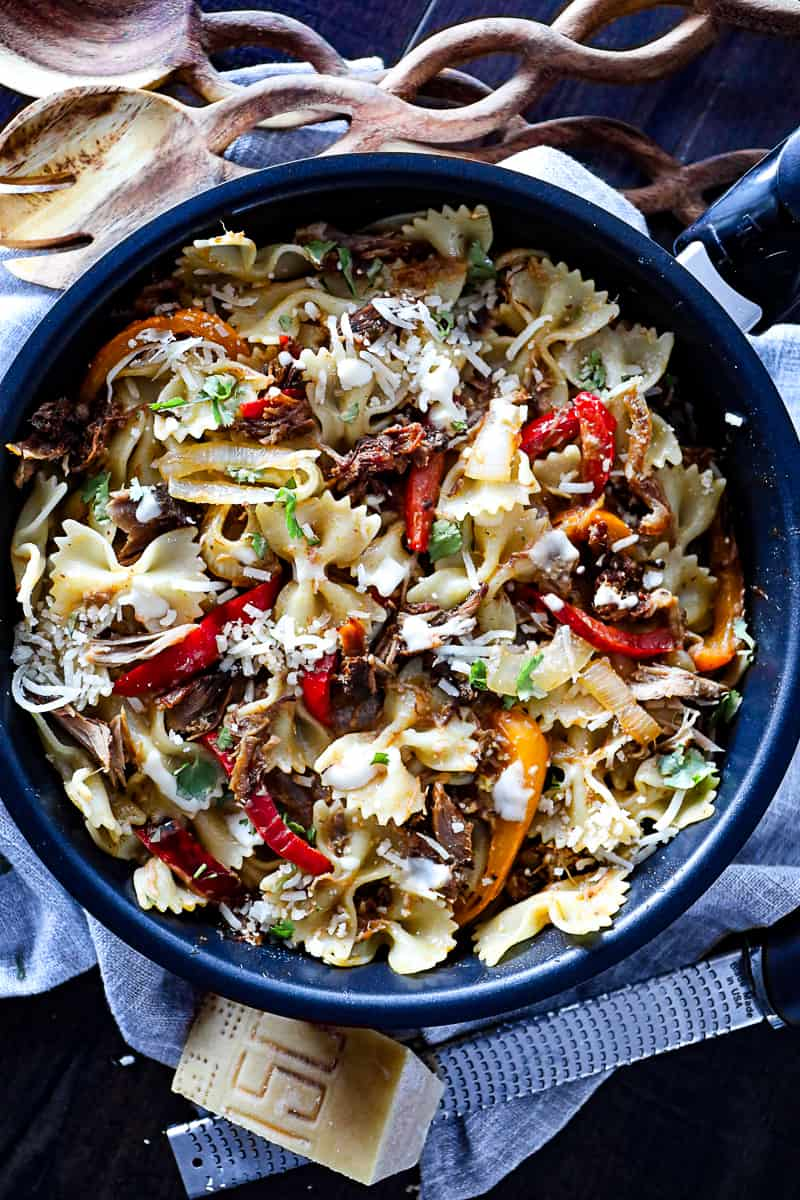 Easy leftover pulled pork pasta recipe.