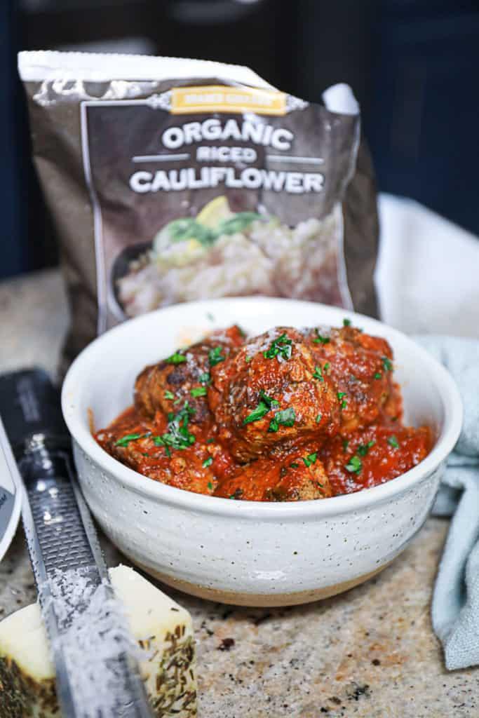 ground beef meatballs with cauliflower rice