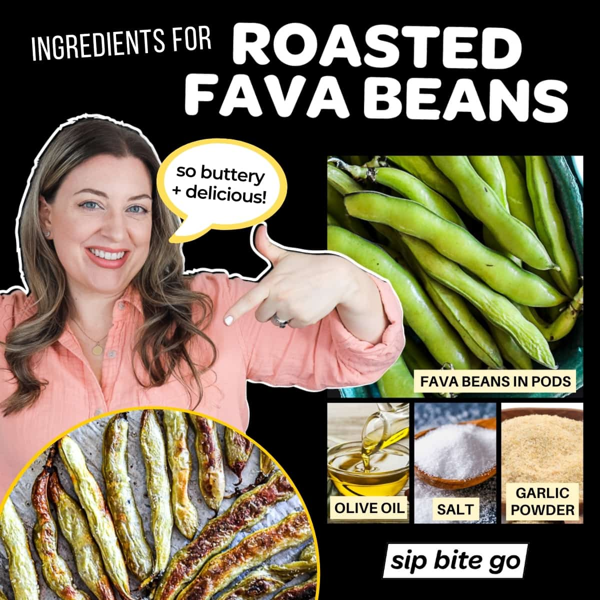 infographic chart for oven roasted fava beans ingredients