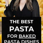 infographic collage with text the best pasta for baked pasta dishes.