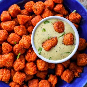 Air Fried Frozen Sweet Potato Tots Platter.