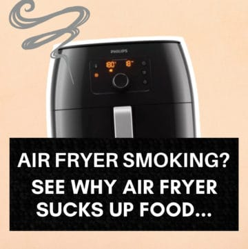 Air Fryer Smoking graphic with text overlay.