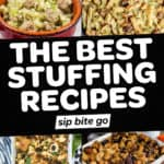 Best Stuffing Recipes collage with text overlay.