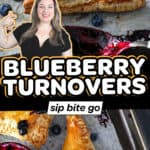 Blueberry turnovers recipe collage with text overlay.