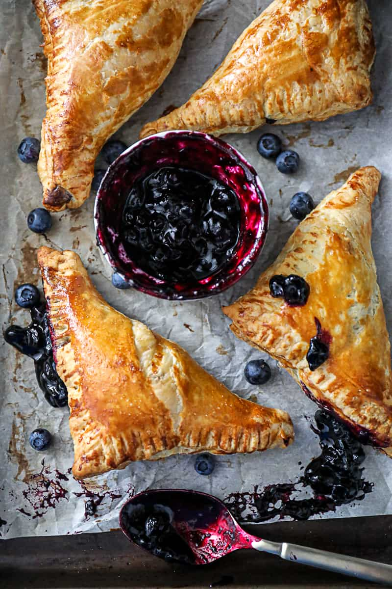 Blueberry Turnovers with made from scratch blueberry mixture filling