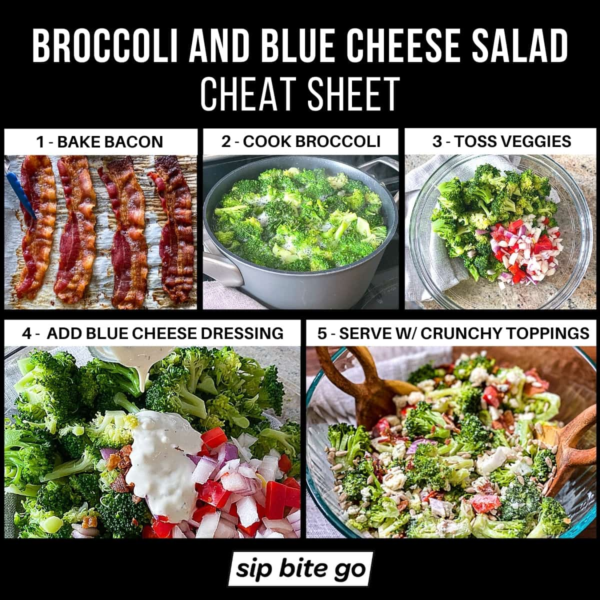 Broccoli And Blue Cheese Salad Recipe Steps Infographic chart with captions