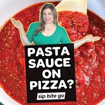 Pizza sauce with pasta sauce on pizza text overlay