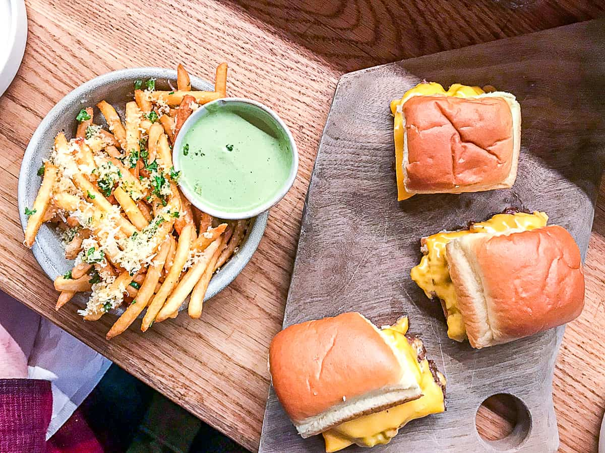 Steam burgers and fries at Canard in Portland Oregon
