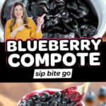 Easy Blueberry Compote With Fresh Blueberries image collage with text overlay.