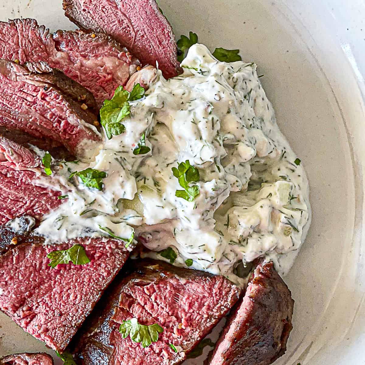 Tzatziki Sauce with steak