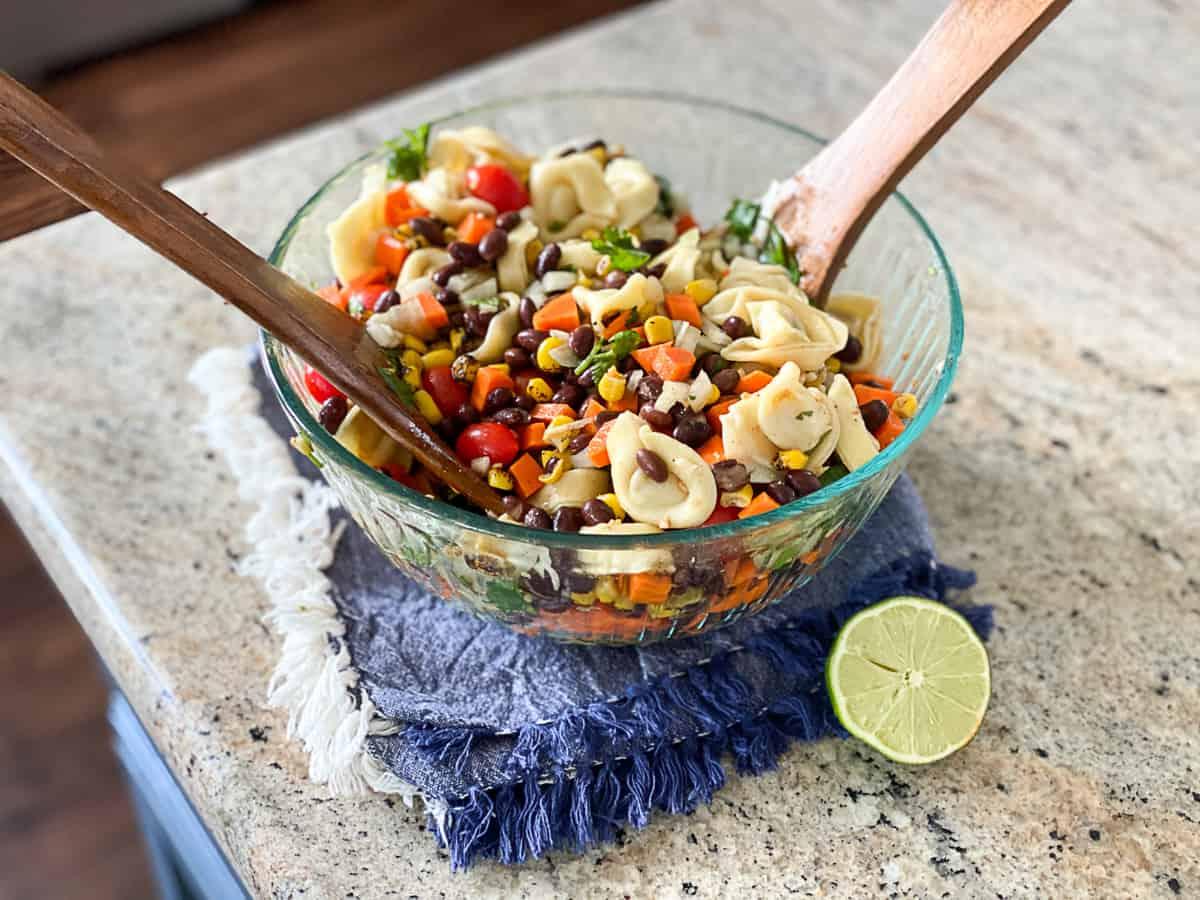 Fun summer salad idea with tortellini pasta.