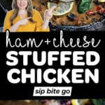 Stuffed chicken breast recipe images with text overlay.