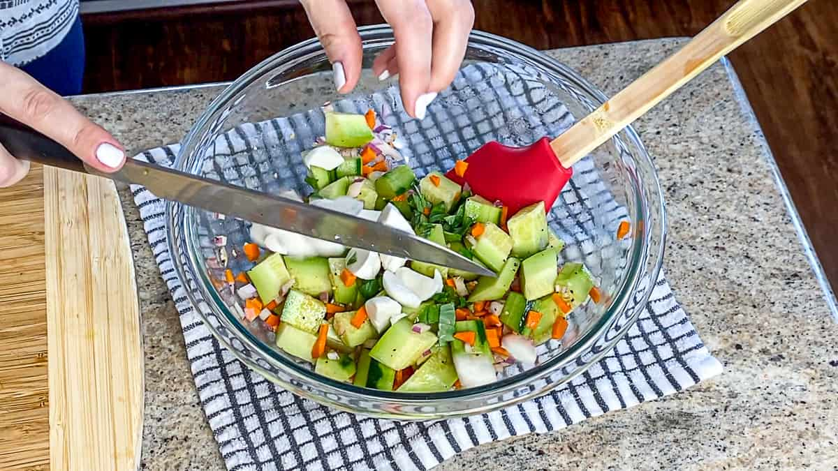 Healthy summer salad with cucumbers.
