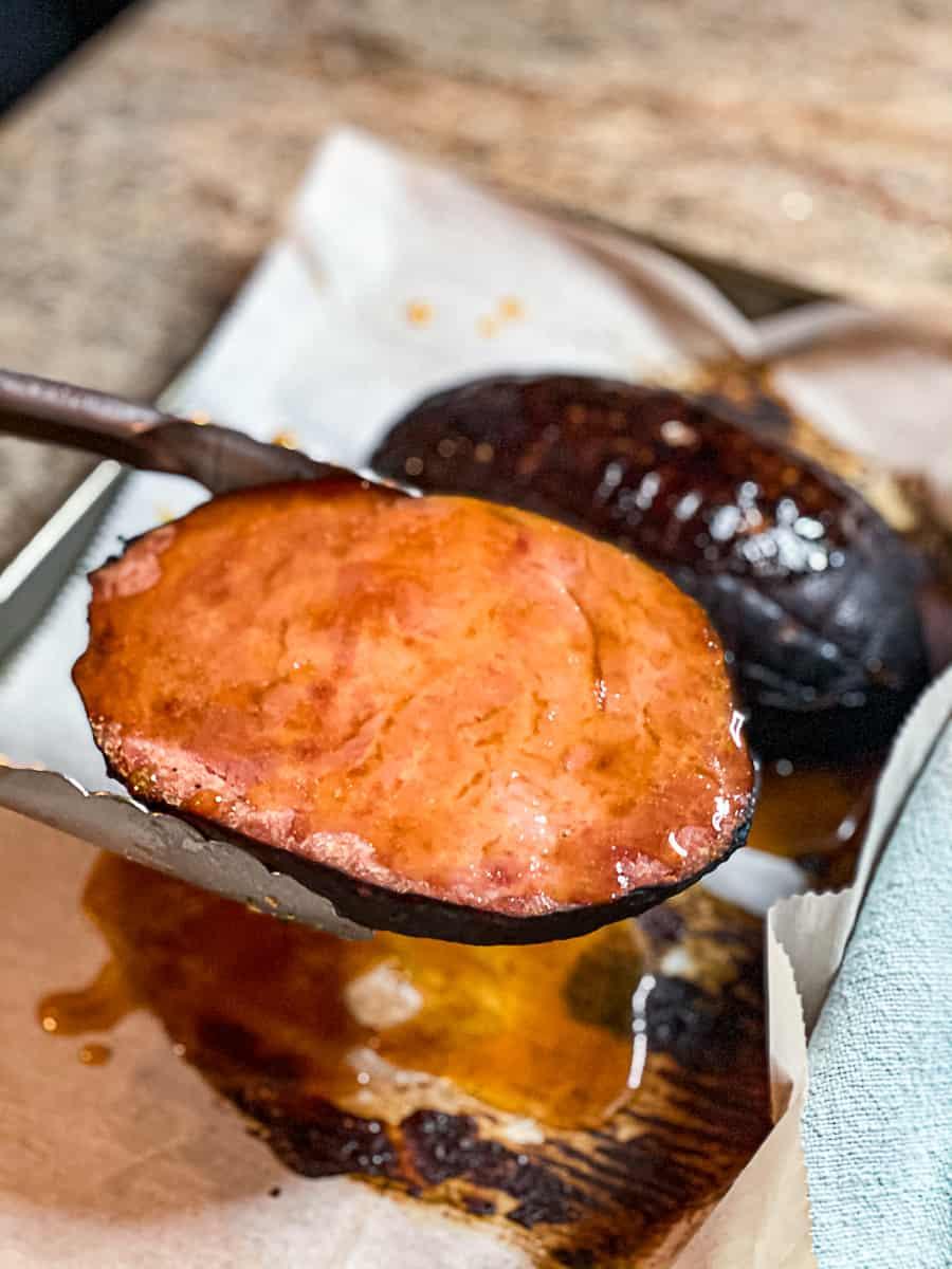 Heated Ham Nugget with glaze.