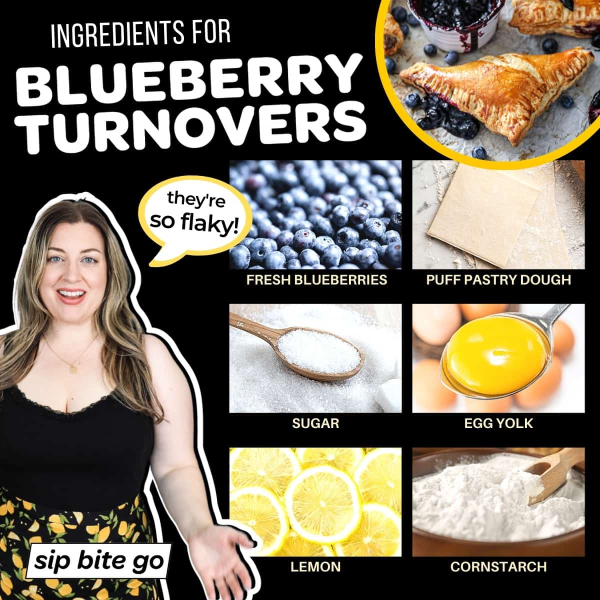 Infographic chart with ingredients for Blueberry Turnovers With Puff Pastry Recipe.