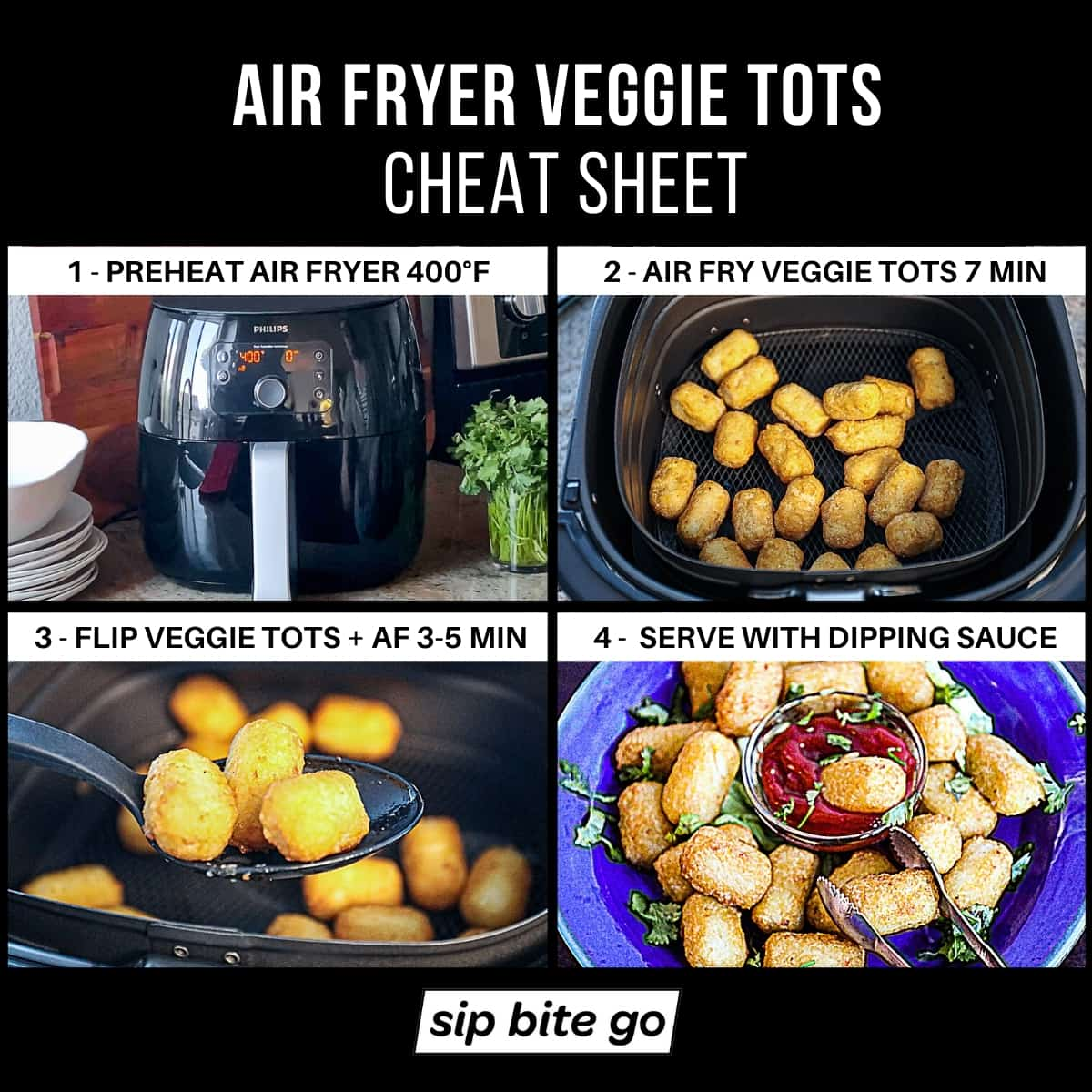 Infographic demonstrating how to air fry veggie tots with cauliflower