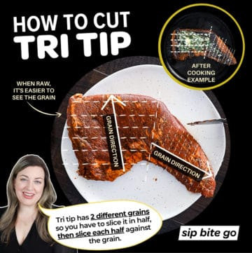 Infographic demonstrating How To Cut Tri Tip Steak