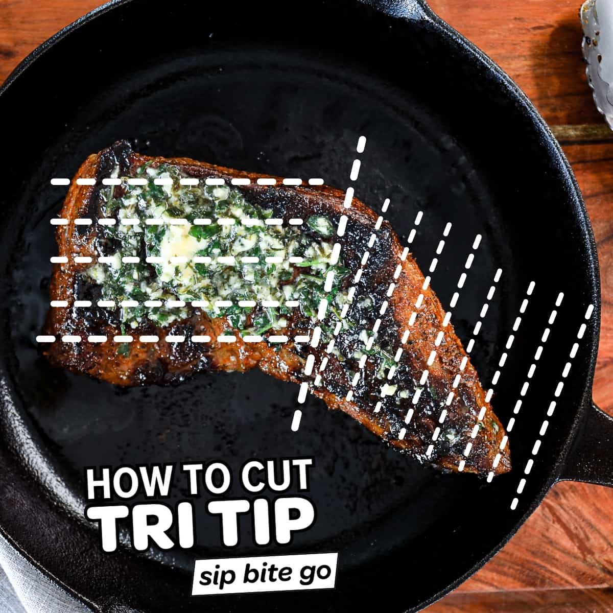 Infographic how to cut tri tip against the grain
