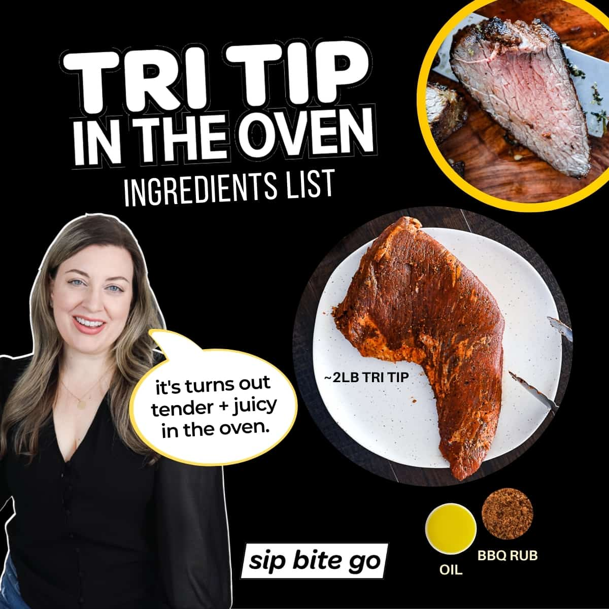Infographic with captions and images of Tri Tip In Oven Ingredients