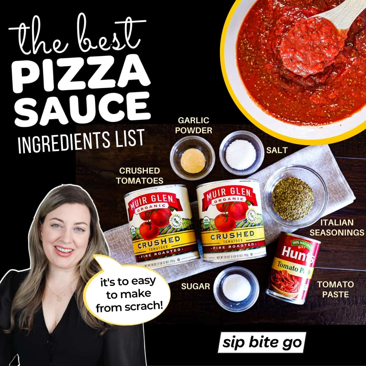 Infographic with the best pizza sauce ingredients list