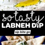 Labneh Dip Recipe images and text overlay.