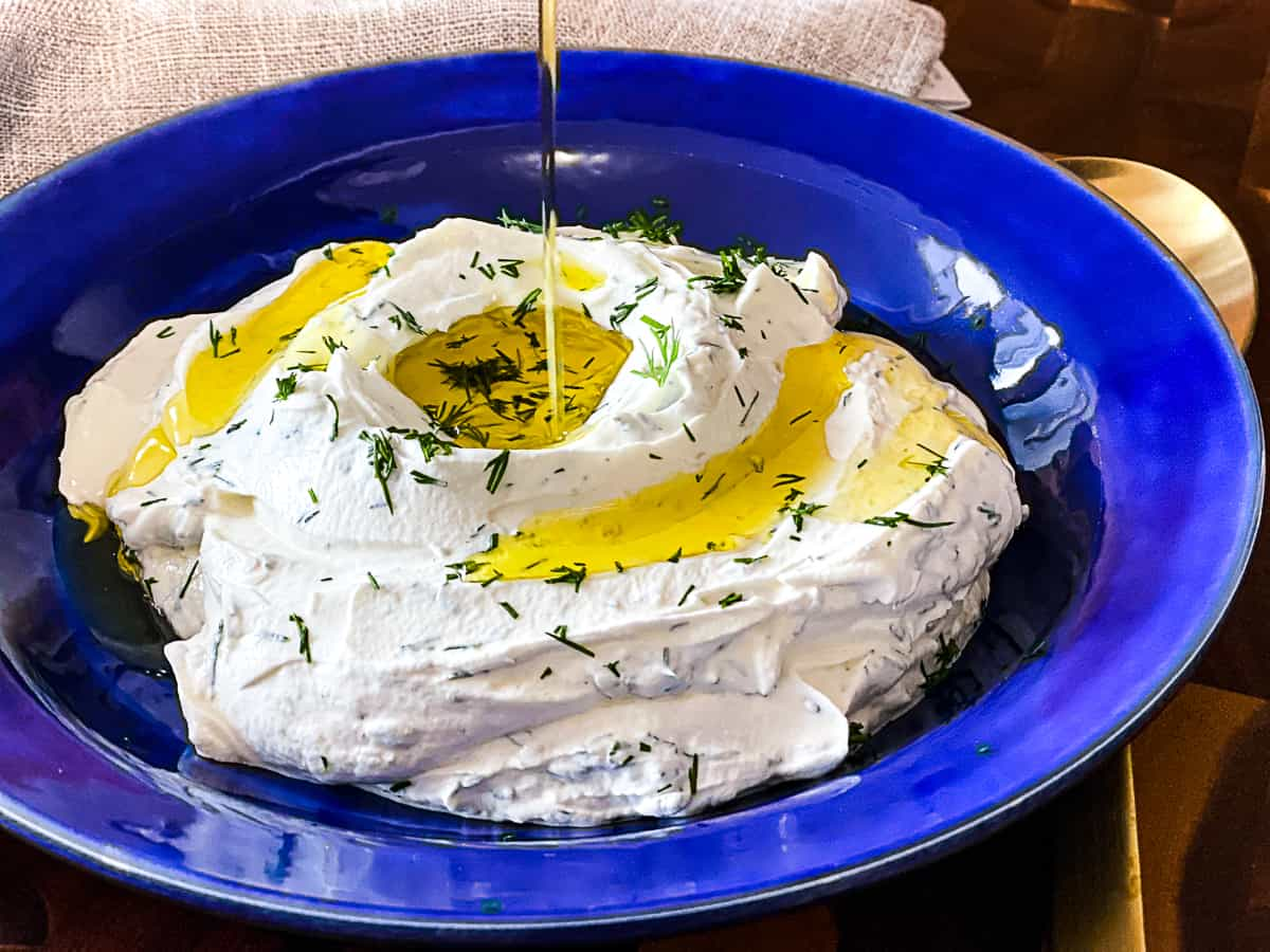 Labneh Garlic Dip with drizzle of olive oil