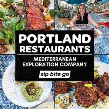 Mediterranean Exploration Company Portland Menu items with text.