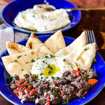 Mediterranean Ground Beef And Greek Labneh Platter