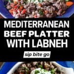 Mediterranean Ground Beef Platter recipe images with text overlay.