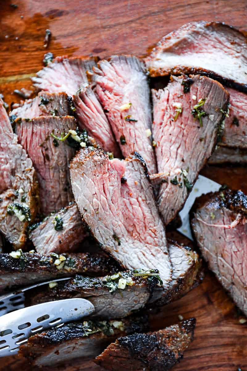 Perfectly cooked oven tri tip medium rare
